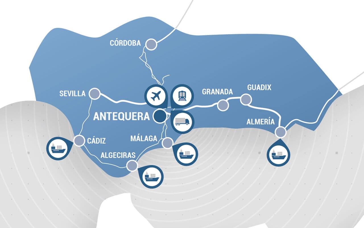 Mapa Andalucía Puerto Seco Antequera