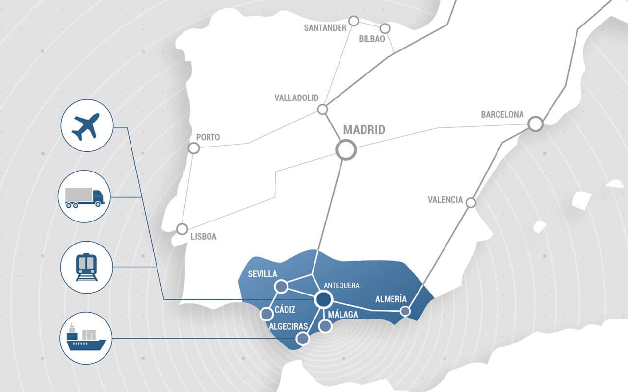 Mapa España Puerto Seco Antequera Andalucía